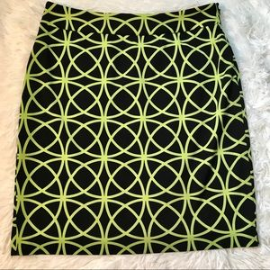 Adrienne Vittadini Black & Neon Green Pencil Skirt